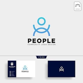 分離された人間のロゴのテンプレートベクトルアイコン