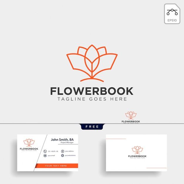 木、植物、フラワーブック教育ラインのロゴのテンプレート