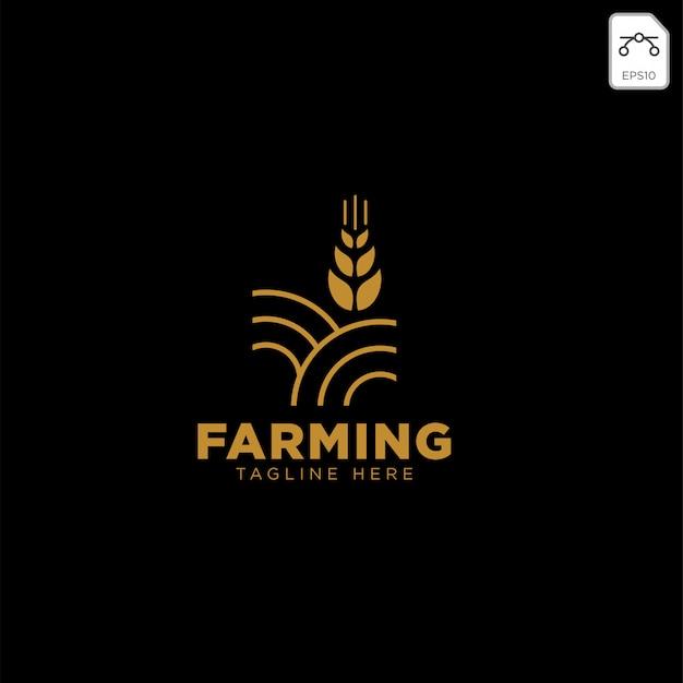 ゴールド農業ファームラインバッジビンテージロゴ