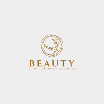 美容化粧品ラインアートのロゴのテンプレート