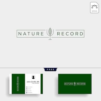 自然記録葉自然バッジラインシンプルロゴ