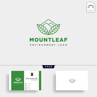 山の森自然バッジラインシンプルなロゴ