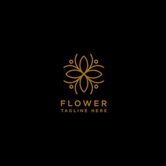 花の花の線の美しさプレミアムシンプルなロゴのテンプレート