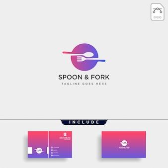 食品機器のスプーンフォークのロゴのテンプレートイラストアイコン要素