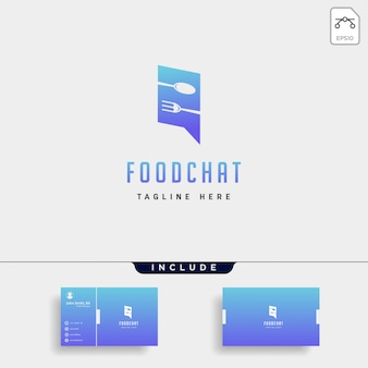 Еда сообщение разговора чат линии наброски простой плоский логотип