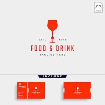 食べ物や飲み物のシンプルなフラットロゴイラストアイコン要素