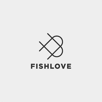 Любовь дизайн логотипа рыбы