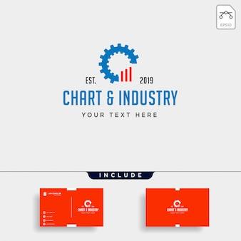 Зубчатая диаграмма логотипа дизайн промышленного учета вектор значок элемент изоляции