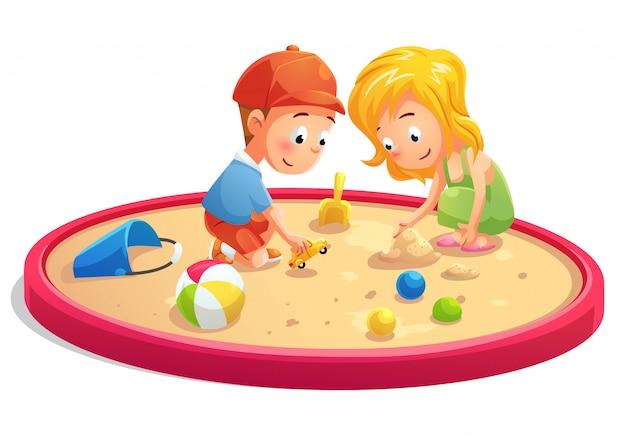 サンドボックスの漫画スタイルで遊んでいる子供たち