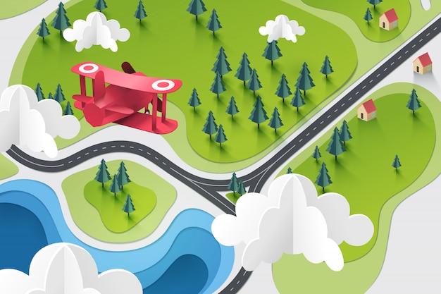 赤い飛行機の紙アートは湖と森の上飛ぶ