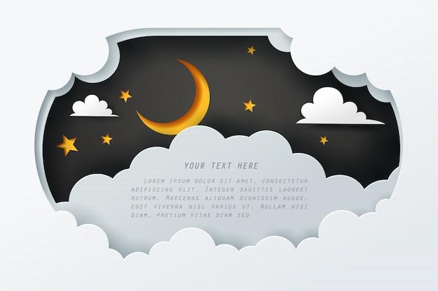 Бумажное искусство неба ночью с копией пространства