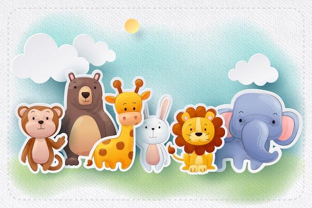 Бумажное ремесло акварельной зоопарка животных поздравительная открытка