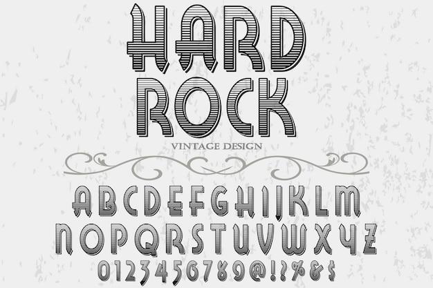 レトロなタイポグラフィラベルデザインハードロック