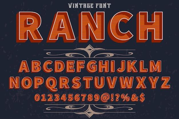 Ретро алфавит дизайн этикетки ранчо