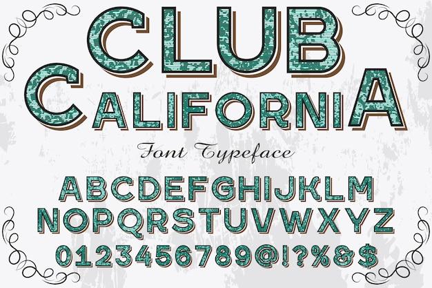 レトロなアルファベットラベルデザインクラブカリフォルニア州