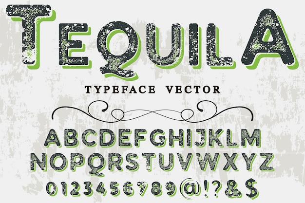Старый стиль алфавит дизайн текила