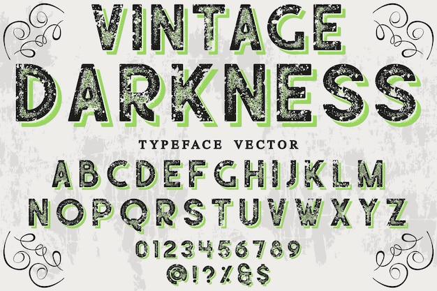 Винтажный дизайн шрифта тьма
