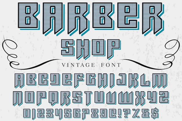Винтажный шрифт дизайн этикетки парикмахерская