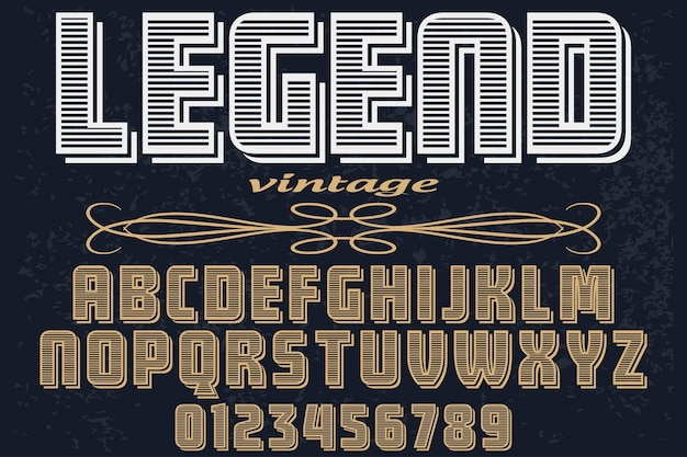 Старинный шрифт типография алфавит с цифрами легенда