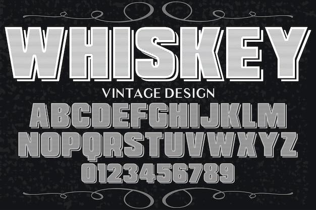 Старинный шрифт типография алфавит с цифрами виски