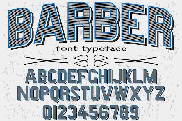 Старинный алфавит дизайн шрифта парикмахер