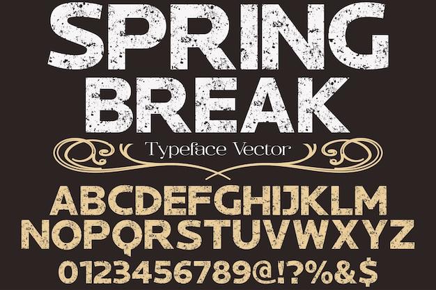 Шрифт ручной работы вектор типография дизайн весна
