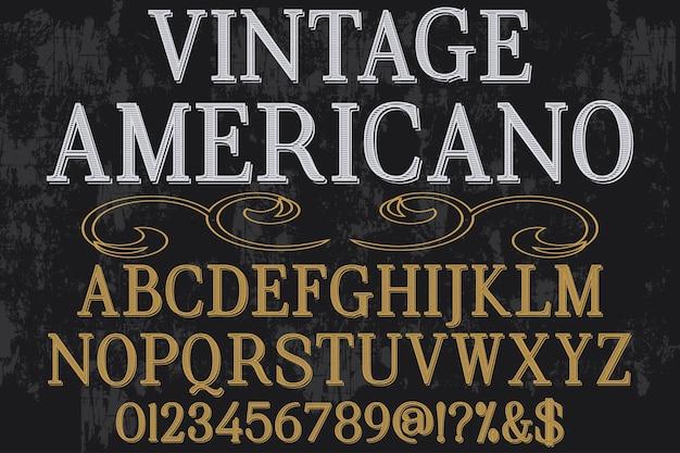 Винтажный алфавит графический стиль американо