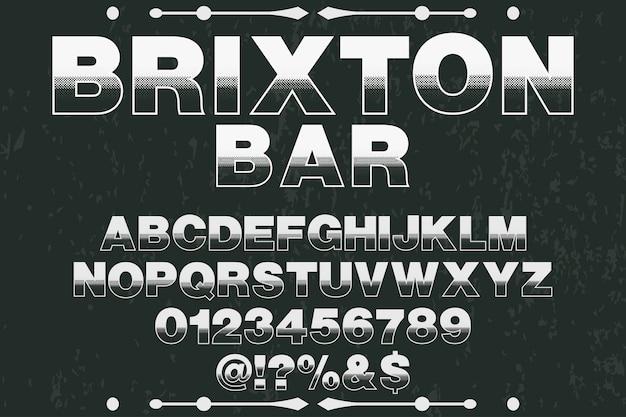 Алфавитный шрифт дизайн шрифта брикстон-бар