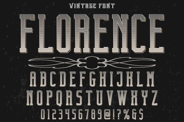 単語フィレンツェのビンテージレタリング