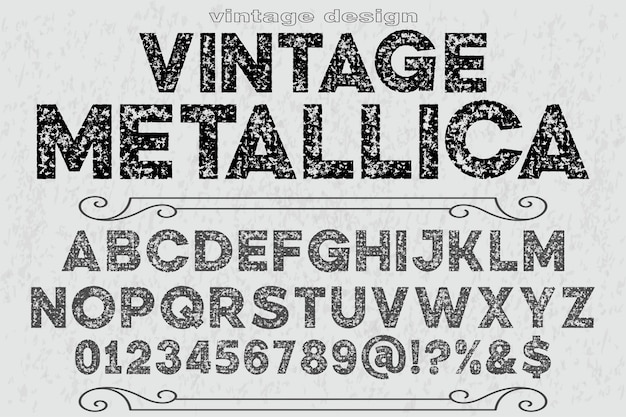 Типография алфавит шрифт дизайн винтаж металлика