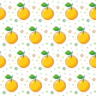 シームレスなオレンジ果実のパターンでピクセルスタイル
