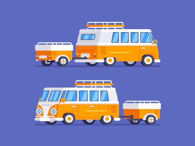 フラットスタイルの図のキャンピングカーと古典的なレトロバン