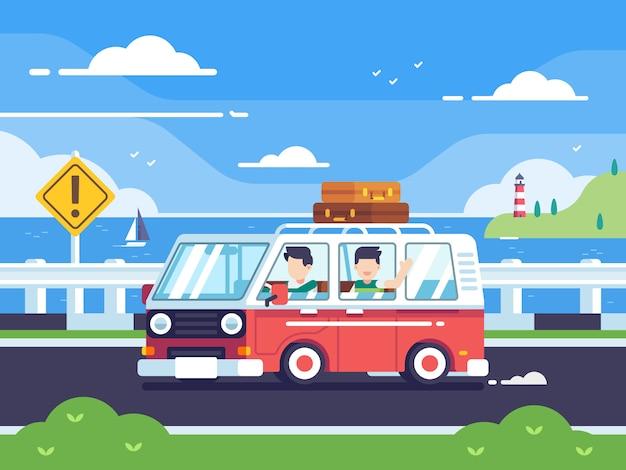 若者が海岸の背景にヴィンテージのキャンピングカーバンで旅行します。フラットスタイルのベクトルカラフルなイラスト