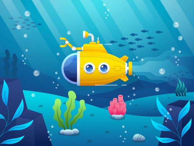 Иллюстрация мультяшной желтой подводной лодки