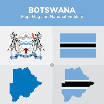 Ботсвана карта флаг и национальный герб
