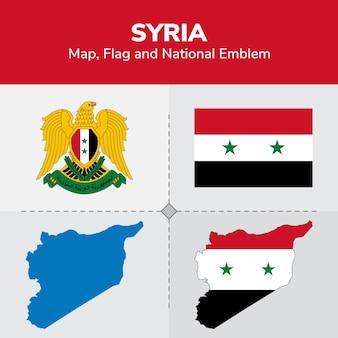 Сирия карта, флаг и национальный герб