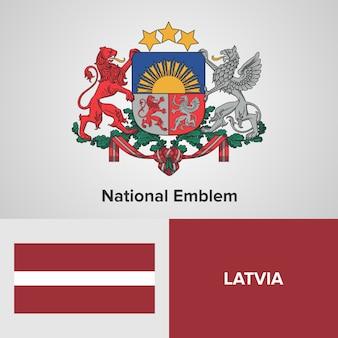 Латвийский национальный герб и флаг