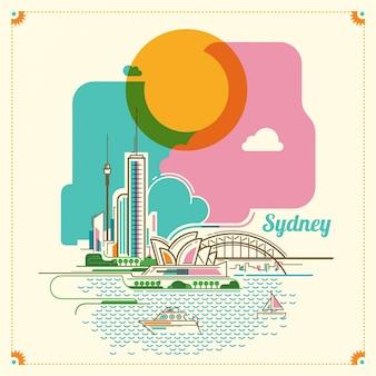 Сидней пейзаж иллюстрации