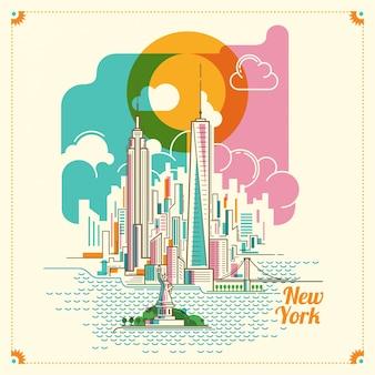 Нью-йоркская пейзажная иллюстрация