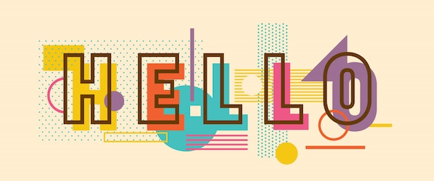 Привет типографский дизайн надписи