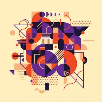 様々な幾何学的図形の合成と抽象的な背景デザイン。