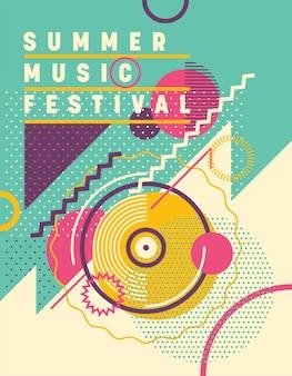 Летний музыкальный фестиваль дизайн плаката.