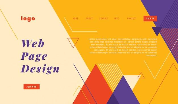 Дизайн шаблона целевой страницы сайта в геометрическом абстрактном стиле.