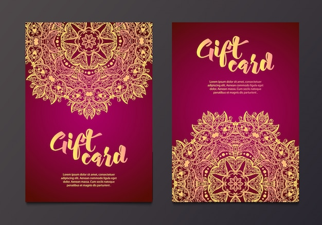 Богатые золотые подарочные сертификаты в индийском стиле.