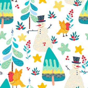 クリスマスの森と冬のシームレスなパターン。