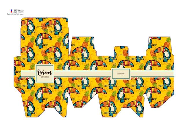 Шаблон шаблон декоративной подарочной коробке с тропическим туканом.