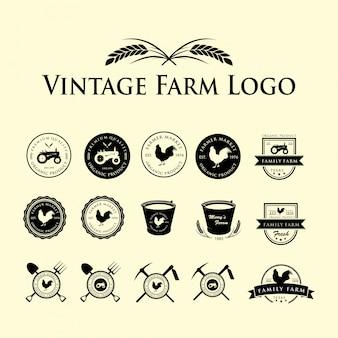 Набор старинных логотип фермы