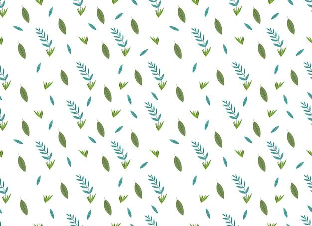 熱帯の葉の白い背景の上のシームレスなパターン。