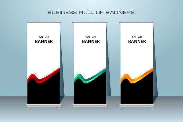 クリエイティブビジネスロールアップバナー。立ちバナーデザイン。