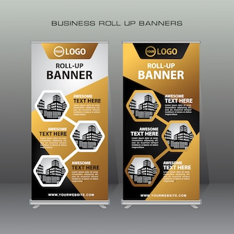 ゴールドと黒の色でクリエイティブロールアップバナーのデザインテンプレート